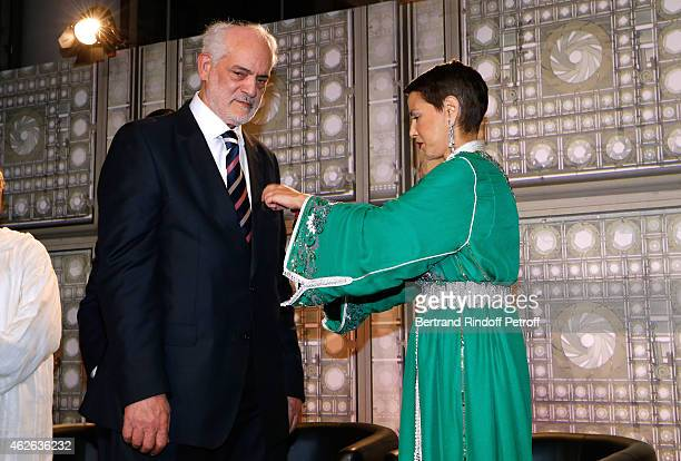 Rabbi of Ris Orangis awarded Michel Serfaty and HRH The Princess Lalla Meryem of Morocco who delivers him the insignia of the Order of the Throne...