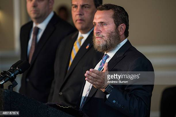 Rabbi Shmuley Boteach introduces New Jersey Governor and Republican presidential hopeful Chris Christie at Chabad House at Rutgers University where...