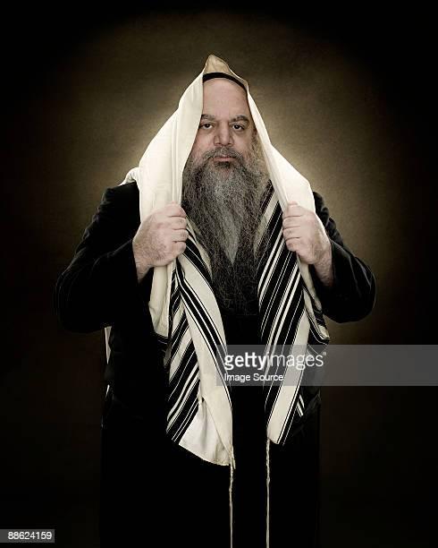 A rabbi wearing a prayer shawl