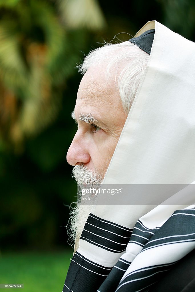 Rabbi wearing tallis : Stock Photo