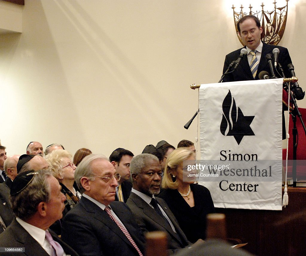 Rabbi Yaakov Kermaier addresses the audiance at the New York Memorial Service for Simon Wiesenthal on September 27, 2005 in New York City
