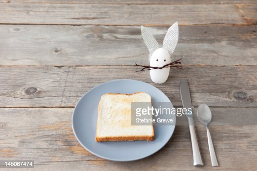 Rabbit decoration and plate of toast