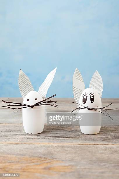 Rabbit decorations on wood counter