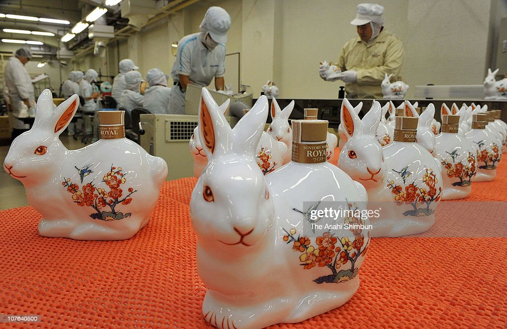 Rabbit shaped bottles of whisky are seen produced at Suntory's Yamazaki distillery on October 14, 2010 in Shimamoto, Osaka, Japan. Rabbit is next year's zodiac sign.