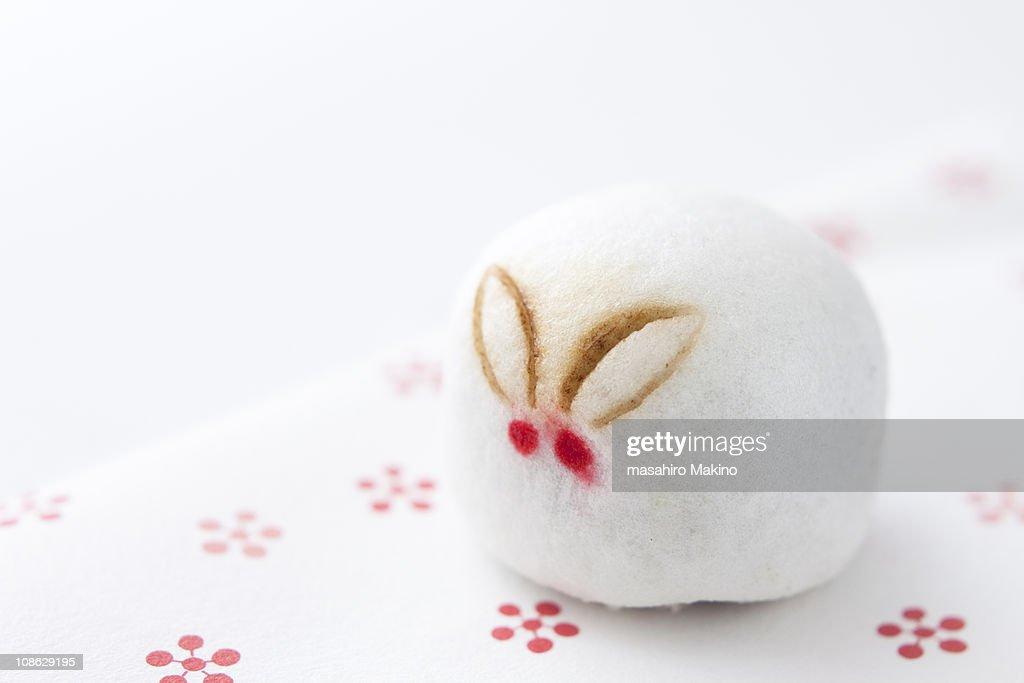 Rabbit shaped Manju Confection : Stock Photo