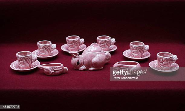 A rabbit tea set belonging to Queen Elizabeth II is displayed at Buckingham Palace ahead of the Royal Childhood exhibition on April 2 2014 in London...