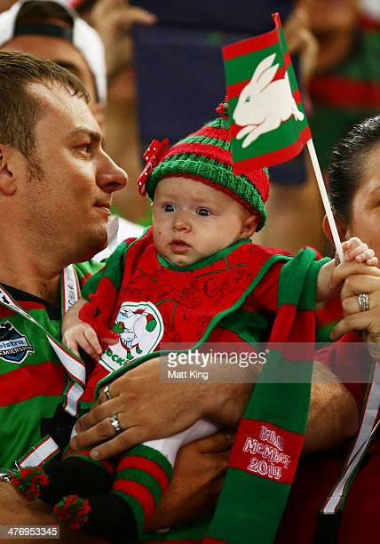 Rabbitohs baby fan is seen in the crowd during the round one NRL match between the South Sydney Rabbitohs and the Sydney Roosters at ANZ Stadium on...