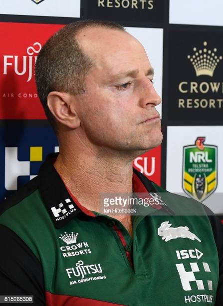 Rabbitohs coach Michael Maguire looks on at the post match media conference at the end of the round 19 NRL match between the South Sydney Rabbitohs...
