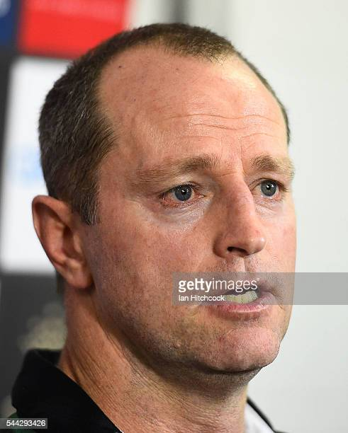 Rabbitohs coach Michael Maguire speaks at the post match media conference at the end of during the round 17 NRL match between the South Sydney...