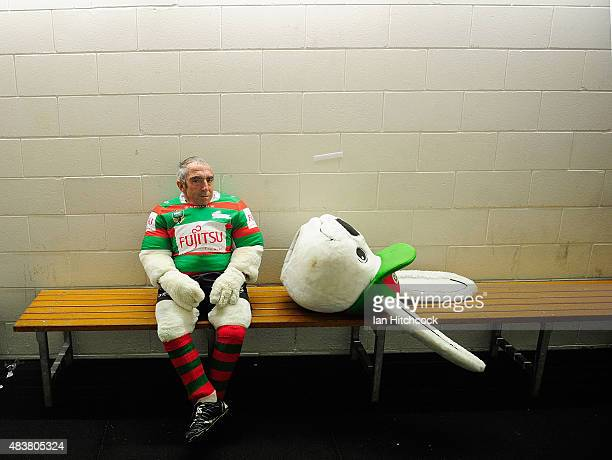Rabbitohs mascot Charlie Gallico waits for his team to come out the dressing rooms at half time during the round 23 NRL match between the North...