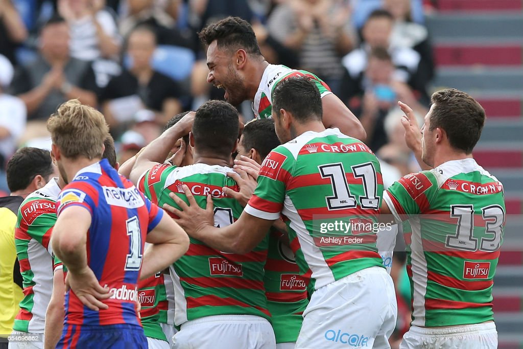 Rabbitohs players celebrte during the round three NRL match between the Newcastle Knights and the South Sydney Rabbitohs at McDonald Jones Stadium on March 18, 2017 in Newcastle, Australia.