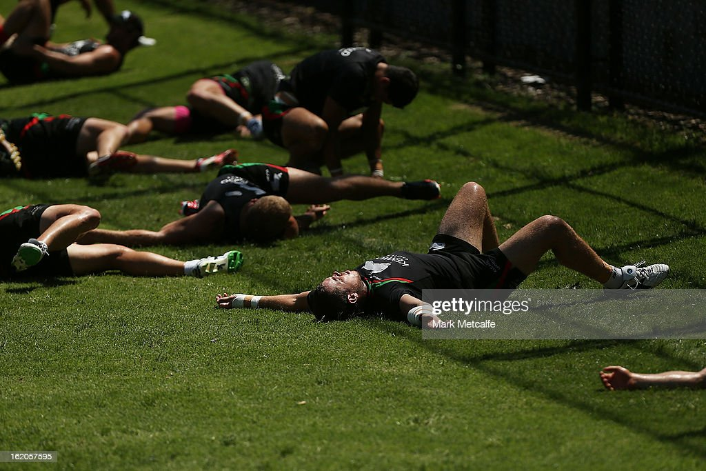 Rabbitohs players stretch during a South Sydney Rabbitohs NRL training session at the National Centre for Indigenous Excellence on February 19, 2013 in Sydney, Australia.