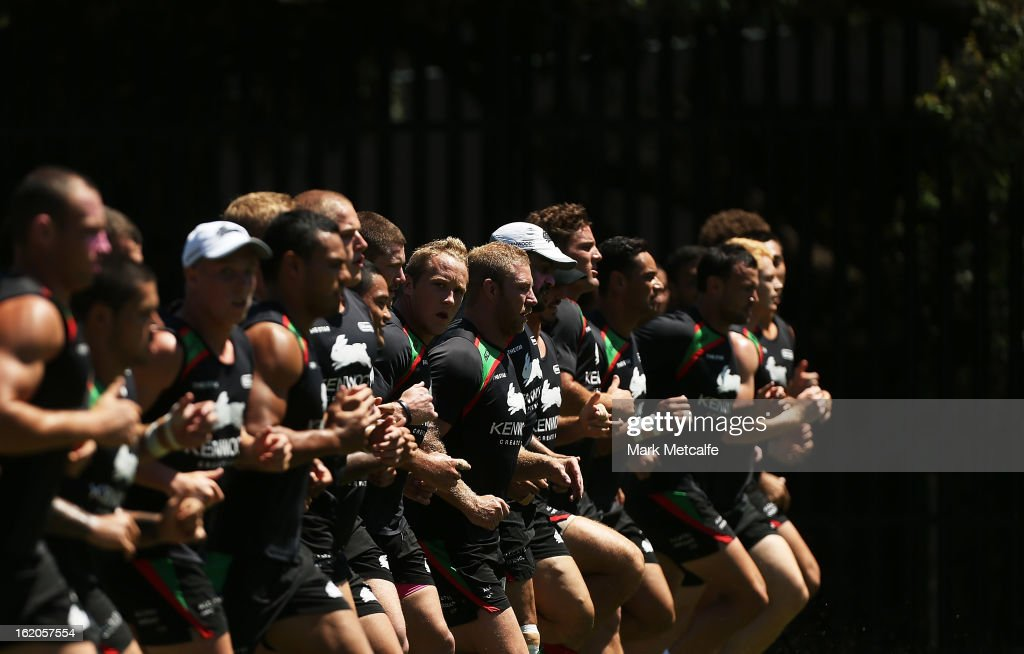 Rabbitohs players warm up during a South Sydney Rabbitohs NRL training session at the National Centre for Indigenous Excellence on February 19, 2013 in Sydney, Australia.