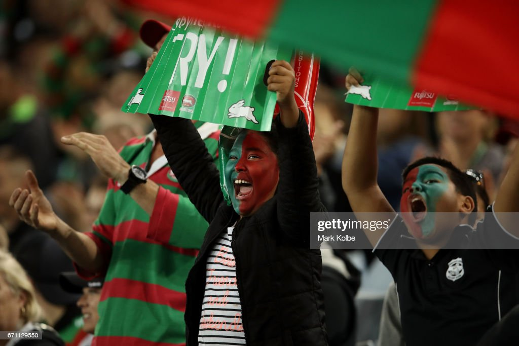 Rabbitohs supporters cheer during the round eight NRL match between the South Sydney Rabbitohs and the Brisbane Broncos at ANZ Stadium on April 21, 2017 in Sydney, Australia.