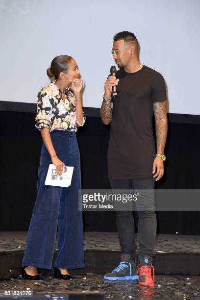 Rabea Schif and Jerome Boateng during the TeamJB17 Jerome Boateng Edel Optics glasses KickOffEvent on August 15 2017 in Hamburg Germany