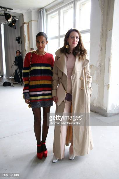 Rabea Schif and Julia Malik attend the Malakaraiss show during the MercedesBenz Fashion Week Berlin Spring/Summer 2018 at Kaufhaus Jandorf on July 5...