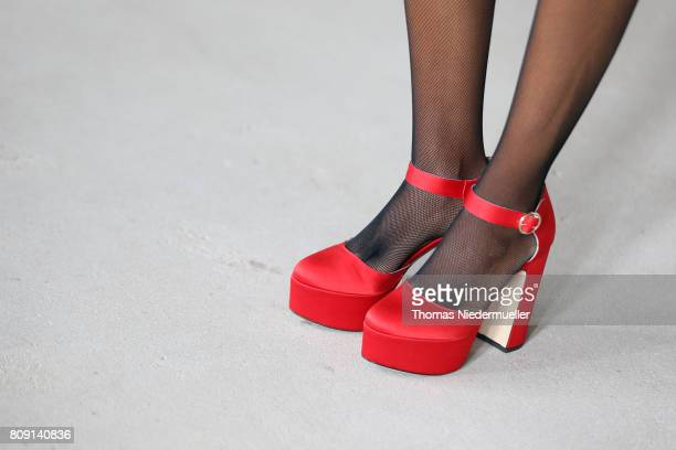 Rabea Schif shoes detail attends the Malakaraiss show during the MercedesBenz Fashion Week Berlin Spring/Summer 2018 at Kaufhaus Jandorf on July 5...
