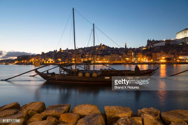 Rabelo boats in the Ribera riverside area of Porto at night