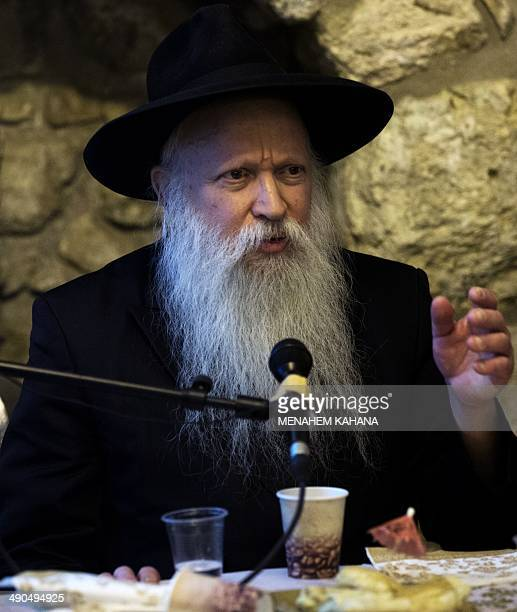 Rabi Yitzchak Ginsburg the spiritual leader of the Jewish settlers delivers a lecture in the King David tomb compound in mount Zion outside the walls...