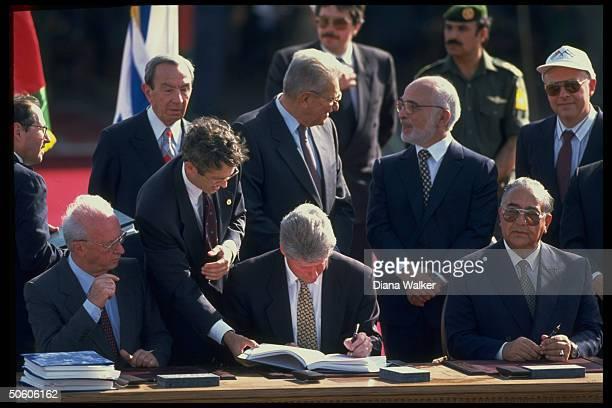 PM Rabin Pres Clinton For Min Majali signing Israel Jordan peace treaty Christopher Weizman King Hussein