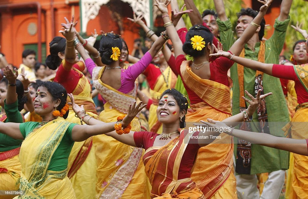 Rabindra Bharti University's students performing at 'Basanta Utsav' cultural Programme at Jorasanko Campus on March 22, 2013 in Kolkata, India. Holi by the name of Basant Utsav is celebrated with fervour in the state of West Bengal. The tradition of Vasantotsav, meaning Spring Festival was started by poet and Nobel laureate Rabindranath Tagore at Shantiniketan.