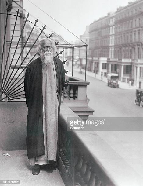 Rabindranath Tagore the great Indian poet and divine is now on a visit to London and other parts of England This exclusive photo shows the...