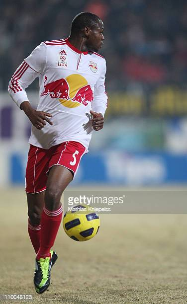 Rabiu Afolabi of Salzburg runs with the ball during the tipp3Bundesliga powered by TMobile match between SV Josko Ried and FC Red Bull Salzburg at...