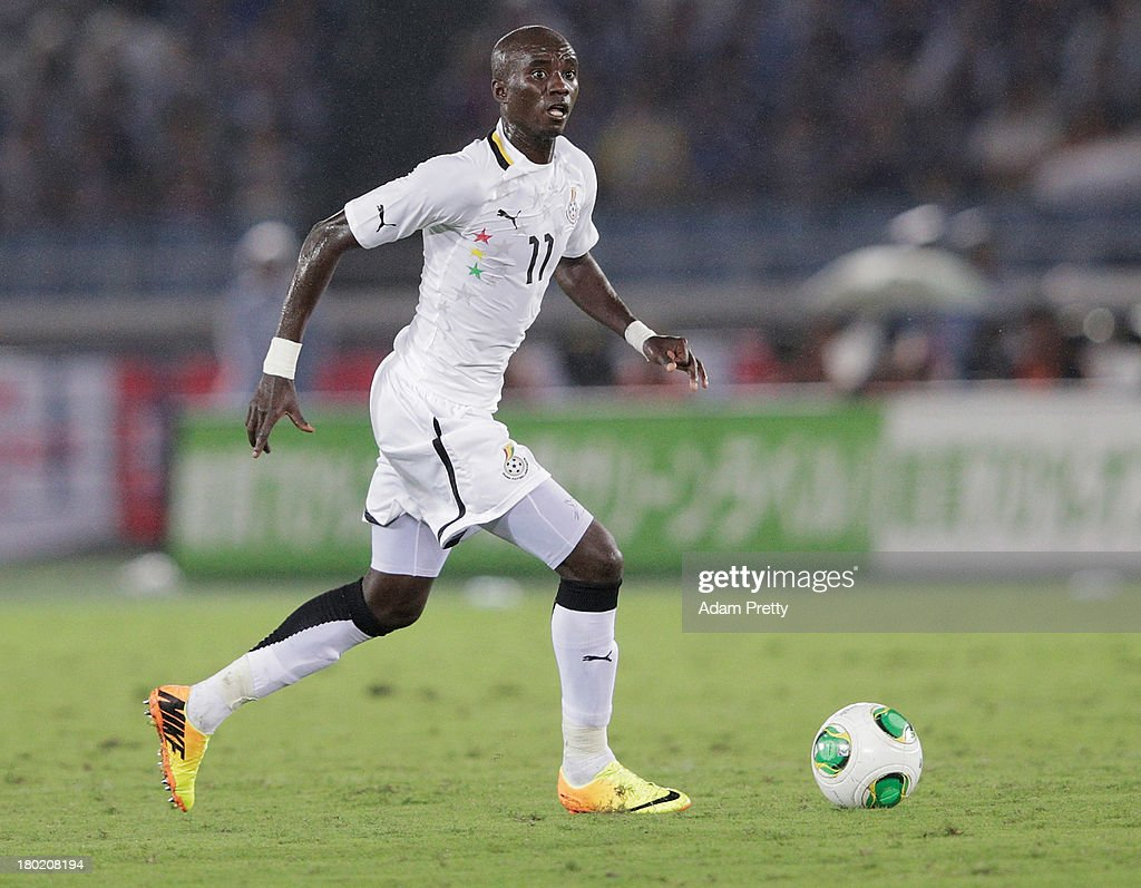 Rabiu Mohammed of Ghana controls the ball during the international friendly match between Japan and Ghana at International Stadium Yokohama on September 10, 2013 in Yokohama, Japan.