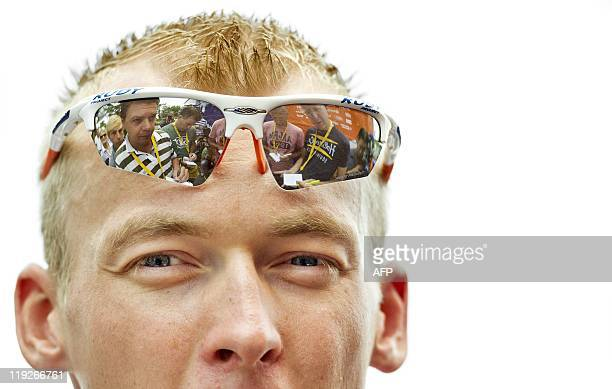 Rabobank rider Lars Boom looks on just before starting the thirteenth stage of the Tour de France from Pau to Lourdes on July 15 2011 AFP PHOTO / ANP...
