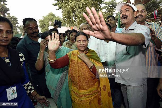 Rabri Devi wife of Rashtriya Janta Dal leader Lalu Prasad Yadav after landslide victory in Bihar Assembly elections on November 8 2015 in Patna India...