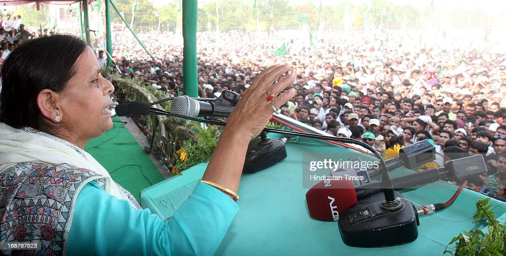 Rabri Devi, wife of RJD Chief Lalu Prasad Yadav addressing Parivartan Rally at Gandhi Maidan on May 15, 2013 in Patna, India. Addressing his first major rally in Bihar in a decade, 65 year old RJD supremo called Chief Minister Nitish Kumar a dictator.