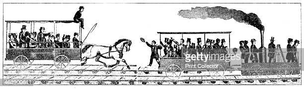 Race between Peter Cooper's locomotive 'Tom Thumb' and a horsedrawn railway carriage Baltimore and Ohio Railroad 1829