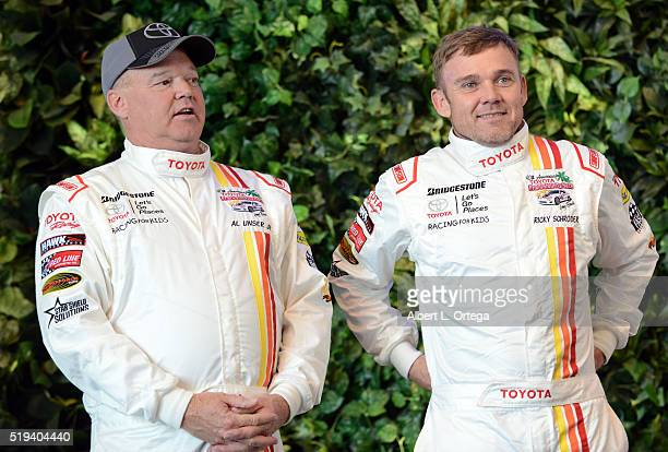 Race car Driver Al Unser Jrand actor Ricky Schroder at the 42nd Toyota Grand Prix Of Long Beach Press Day on April 5 2016 in Long Beach California