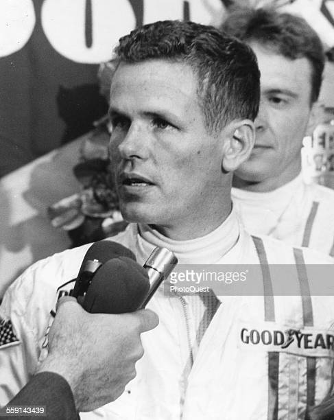 Race car driver Bobby Unser is interviewed after he won the Indianapolis 500 Indianapolis Indiana 1968