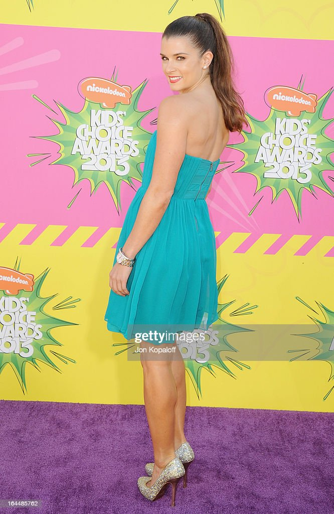 Race car driver Danica Patrick arrives at Nickelodeon's 26th Annual Kids' Choice Awards at USC Galen Center on March 23, 2013 in Los Angeles, California.
