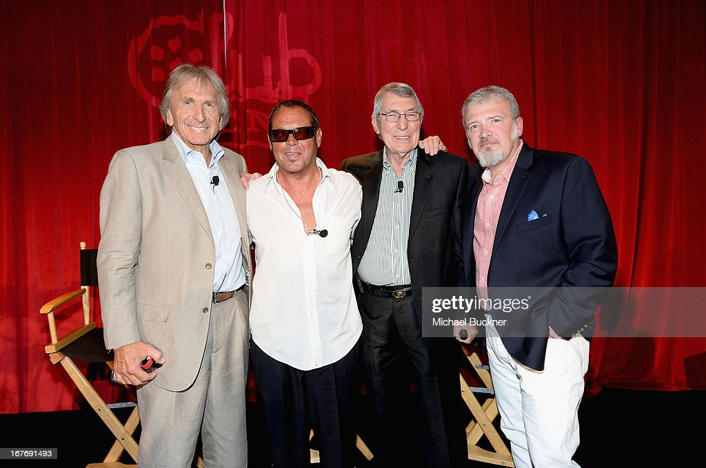 Race car driver Derek Bell actor Chad McQueen race car driver Vic Elford and VP of Original Productions for TCM Tom Brown attend 'Le Mans Behind the...