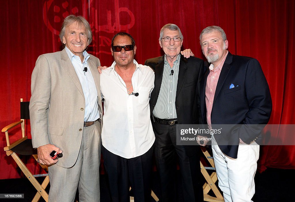 Race car driver Derek Bell actor Chad McQueen race car driver Vic Elford and VP of Original Productions for TCM Tom Brown attends 'Le Mans Behind the...