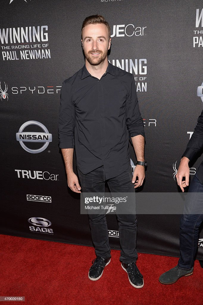 Race car driver <a gi-track='captionPersonalityLinkClicked' href=/galleries/search?phrase=James+Hinchcliffe&family=editorial&specificpeople=4024510 ng-click='$event.stopPropagation()'>James Hinchcliffe</a> attends a charity screening of the film 'WINNING: The Racing Life Of Paul Newman' at the El Capitan Theatre on April 16, 2015 in Hollywood, California.