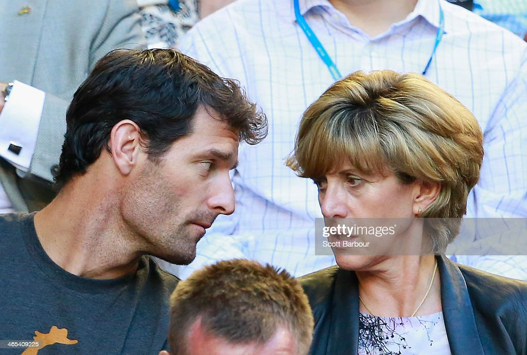Race car driver <a gi-track='captionPersonalityLinkClicked' href=/galleries/search?phrase=Mark+Webber+-+Race+Car+Driver&family=editorial&specificpeople=167271 ng-click='$event.stopPropagation()'>Mark Webber</a> and Ann Neal look on in the men's final match between Rafael Nadal of Spain and Stanislas Wawrinka of Switzerland during day 14 of the 2014 Australian Open at Melbourne Park on January 26, 2014 in Melbourne, Australia.