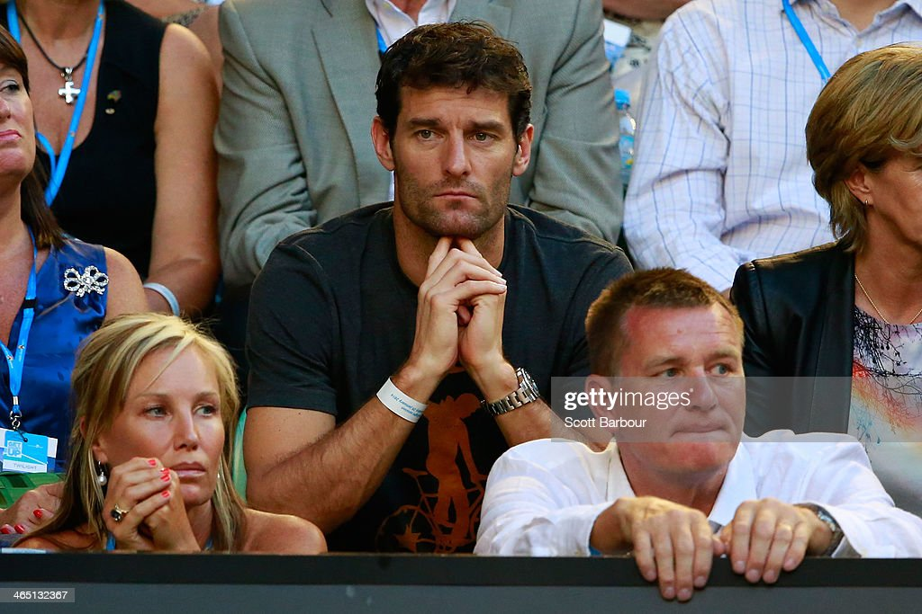 Race car driver <a gi-track='captionPersonalityLinkClicked' href=/galleries/search?phrase=Mark+Webber+-+Race+Car+Driver&family=editorial&specificpeople=167271 ng-click='$event.stopPropagation()'>Mark Webber</a> looks on in the men's final match between Rafael Nadal of Spain and Stanislas Wawrinka of Switzerland during day 14 of the 2014 Australian Open at Melbourne Park on January 26, 2014 in Melbourne, Australia.