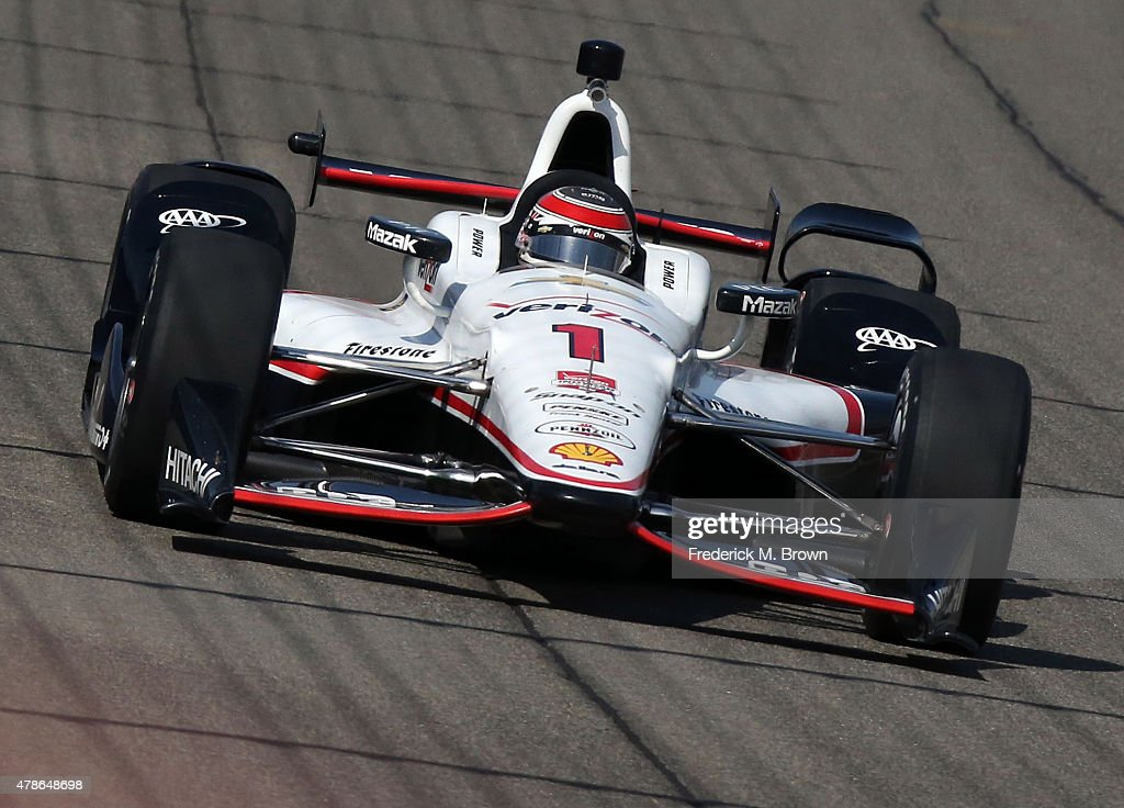Race car driver <a gi-track='captionPersonalityLinkClicked' href=/galleries/search?phrase=Will+Power+-+Race+Car+Driver&family=editorial&specificpeople=7641307 ng-click='$event.stopPropagation()'>Will Power</a> on the track during practice session at the Auto Club Speedway on June 26, 2015 in Fontana, California.