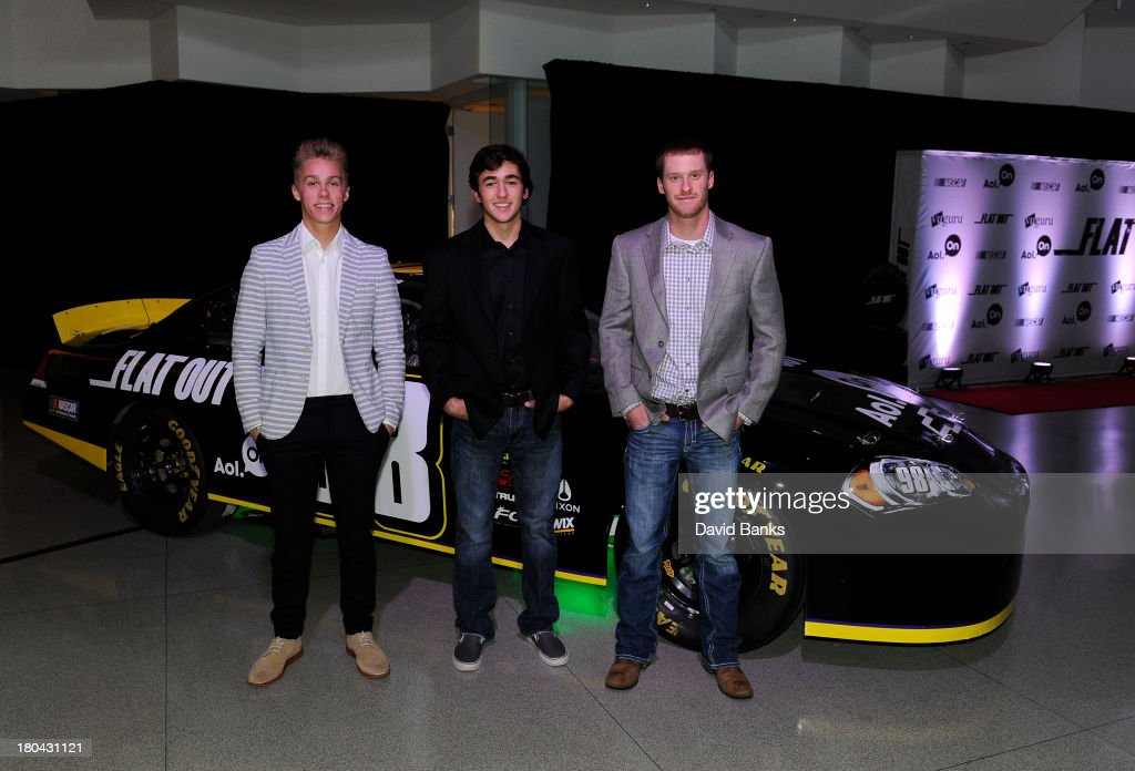 Race car drivers L-R Dylan Kwasniewski, Chase Elliott and Jeb Burton at the screening of Flat Out on September 12, 2013 in Chicago, Illinois.