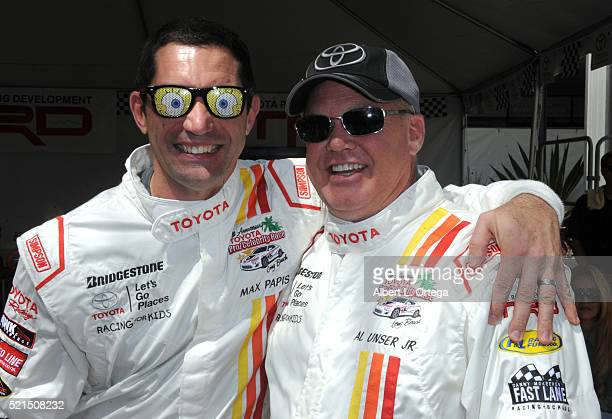 Race car drivers Max Papis and Al Unser Jr at the 42nd Toyota Pro/Celebrity Race Qualifying Day on April 15 2016 in Long Beach California