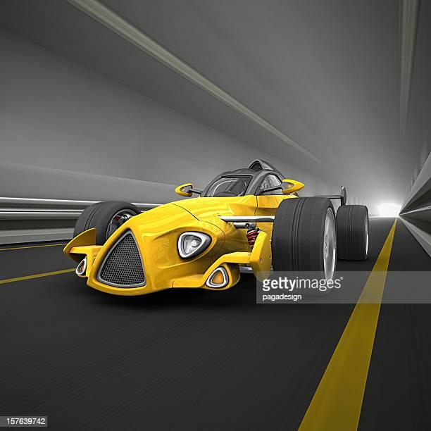race car in tunnel