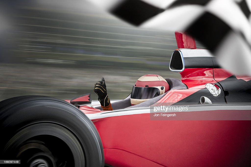 INDY race car winner with thumbs up. : Stock Photo