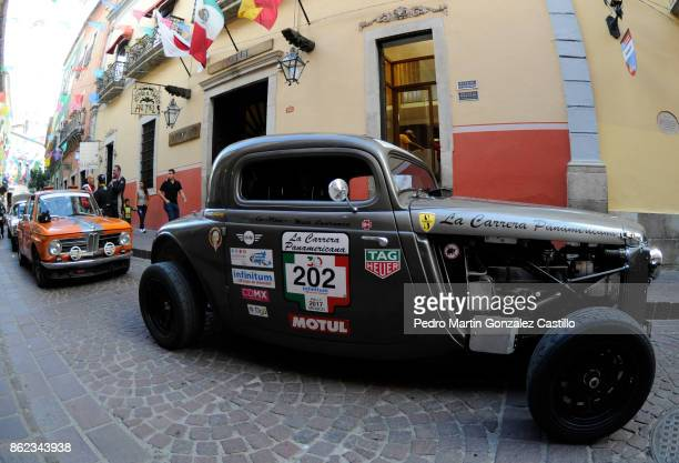 Race cars arrive to Guanajuato during the Pan American Road Race on October 16 in Guanajuato Mexico