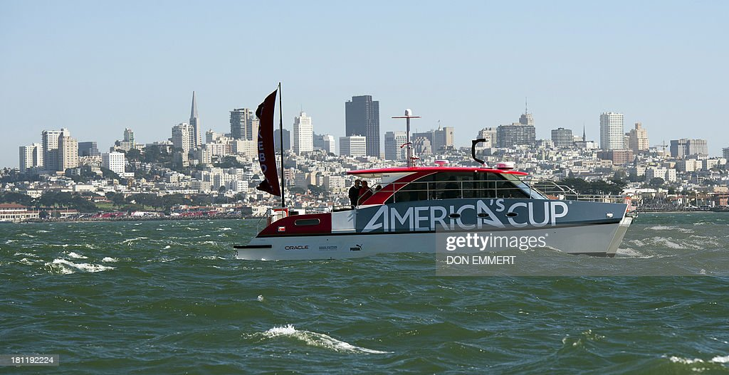 A race committee boat during the 34th America's Cup September 19, 2013 in San Francisco. Team USA won the first race of the day and the second was postponed due to high winds. AFP PHOTO/Don Emmert