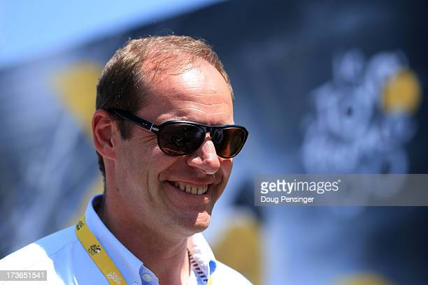 Race director Christian Prudhomme looks on ahead of stage sixteen of the 2013 Tour de France a 168KM road stage from VaisonlaRomaine to Gap on July...