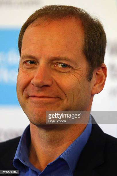 Race Director Christian Prudhomme talks to the media during a press conference prior to the start of the Tour de Yorkshire 2016 at York Air Museum on...