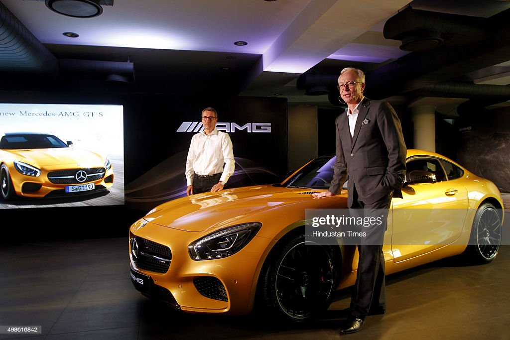 Race Driver and AMG brand ambassador Bernd Schneider and Managing Director CEO of MercedesBenz India Roland S Folger at launch of The New MercedesAMG...